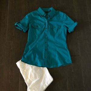 New York & Company teal button down shirt.